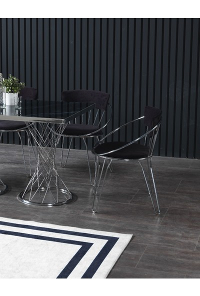 Ressahome Valdes Siyah Mermerli Mutfak Masası Takımı-Gümüş UZAY-80X120 cm