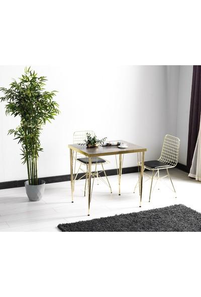 Ressahome Violet 2 Kişilik Gold Masa Sandalye Takımı 60X90 cm