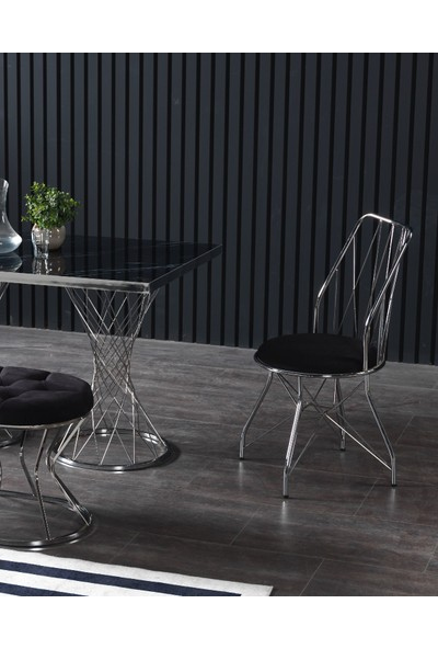 Ressahome Balbina Puflu Siyah Mermerli Mutfak Masası Takımı-Gümüş BAKLAVA-80X120 cm