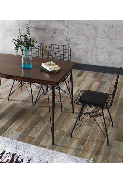Ressahome Fiona Kütük Tel Sandalyeli Tel Ayaklı Mutfak Masası Takımı 80X120