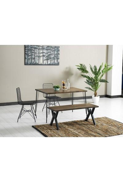 Ressahome Aymira Doğal Ahşap Puflu Mutfak Masası Takımı-Yemek MASASI-80X120 cm