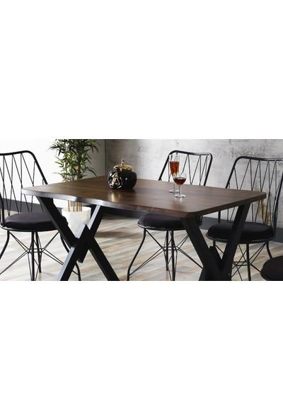 Ressahome Fiona Kütük Baklava Sandalyeli Wakko Ayaklı Mutfak Masası Takımı 80X120