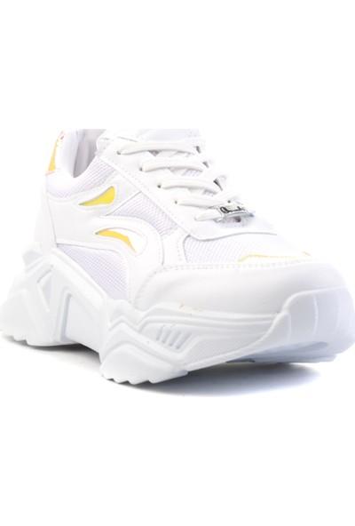 Bambi Beyaz/Siy-Oranj Kadın Sneaker