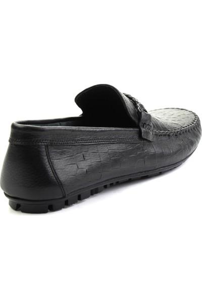 Bambi Siyah Baskılı Deri Erkek Loafer Ayakkabı
