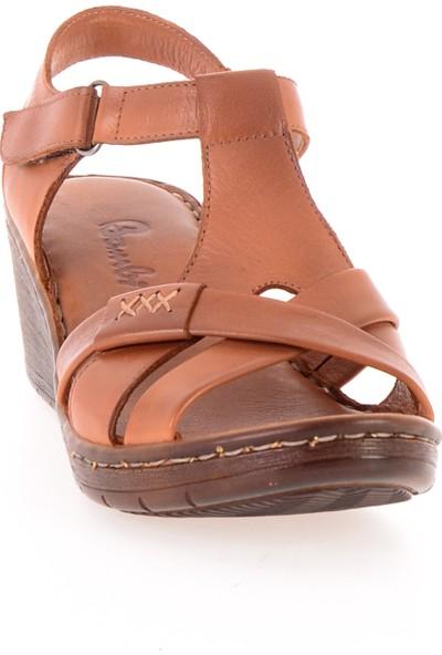 Bambi Taba Deri Kadın Sandalet