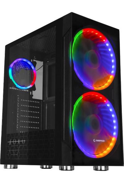 Rampage Space 3 Adet Double Ring Rainbow Fanlı Tempered Camlı Gaming Oyuncu Kasası