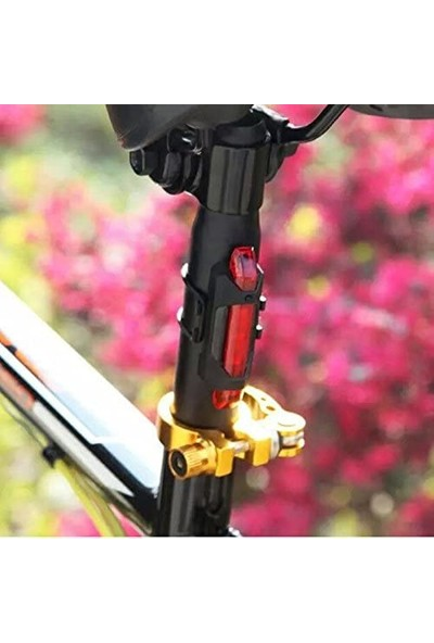 Nur Feyza Şarjlı Fonksiyonlu Bisiklet Arka Spot Uyarı Ikaz Işığı 4 Modlu Lamba