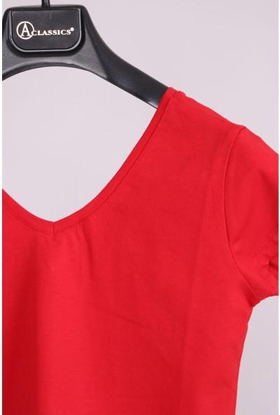 Aclassics Kırmızı V Yaka Yarım Kollu Pamuk Slim Fit T-Shirt