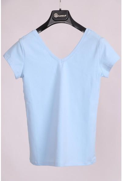 Aclassics Mavi V Yaka Yarım Kollu Pamuk Slim Fit T-Shirt