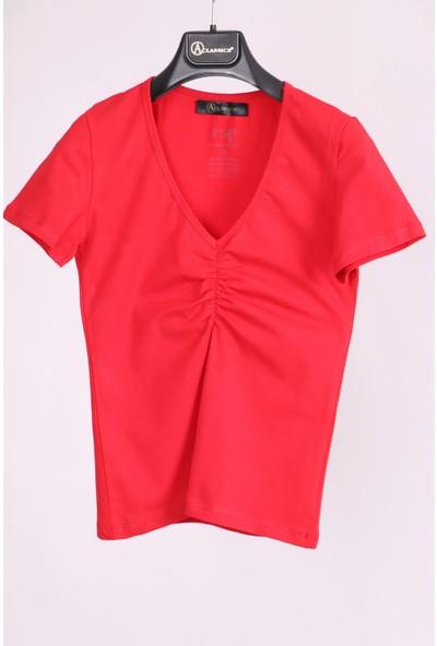 Aclassics Kırmızı Büzgülü V Yaka Yarım Kollu Pamuk Slim Fit T-Shirt