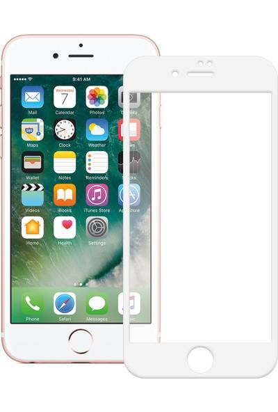Antutu Apple İphone 8 Tam Kaplayan Full Cam Ekran Koruyucu Kavisli Ve Temperli Koruma Beyaz