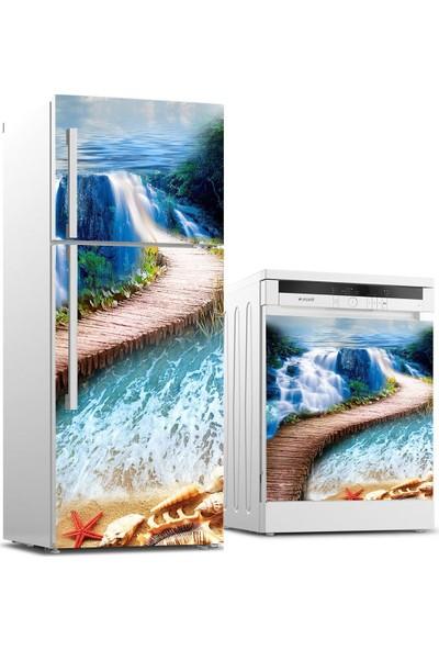 Jasmin2020 Buzdolabı ve Bulaşık Makinası Sticker Kaplama Etiketi Yol Deniz