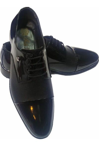 Novus Siyah Rugan Nokta Desen Klasik Deri Erkek Ayakkabı