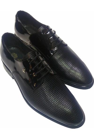 Novus Siyah Rugan Kendinden Desenli Klasik Deri Erkek Ayakkabı