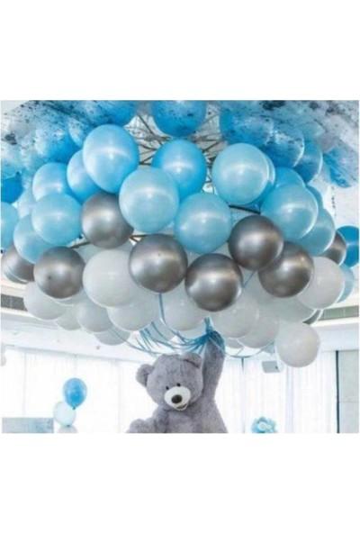 Beysüs 100 Adet Metalik Balon ve 5 Metre Balon Zinciri Mavi Gümüş Beyaz Uçan Balon
