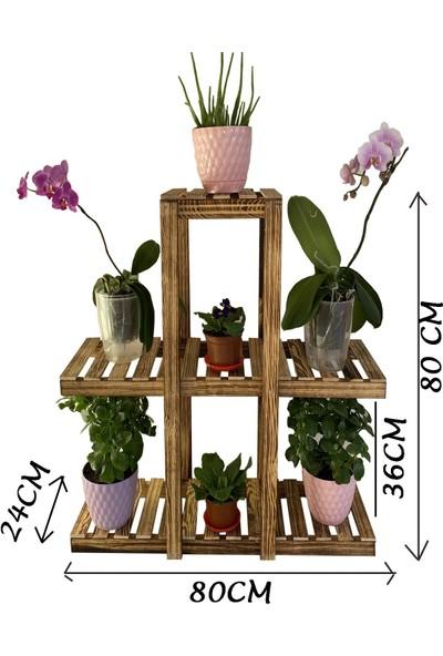 Deha Moda 3 Katlı 7 Bölmeli Dekoratif Doğal Ahşap Çiçeklik Bahçe-Balkon Saksı Standı