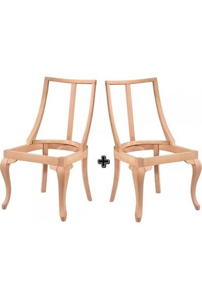 Pine Ahşap Dünya Sandalye 2'li Lükens Cilasız Ham Ahşap 4608