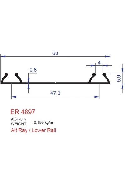 Ersaş Alüminyum Sürme Kapak Alt Ray Profili Er 4897 Pres 3 mt 1'li