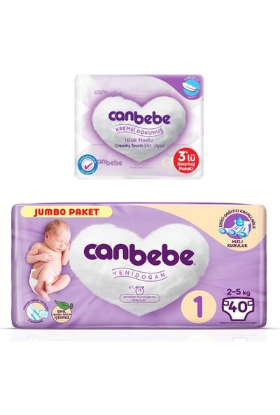 Canbebe Jumbo Paketi 1 Numara ve Kremsi Dokunuş Islak Havlu 3'lü