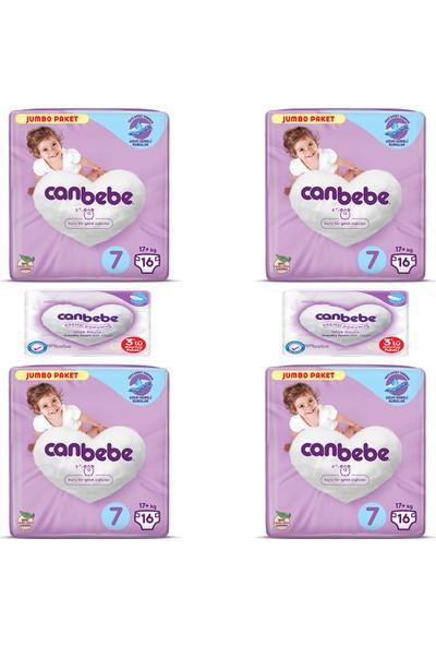 Canbebe 4'lü Canbebe Jumbo Paketi 7 Numara ve 2'li Kremsi Dokunuş Islak Havlu 3'lü