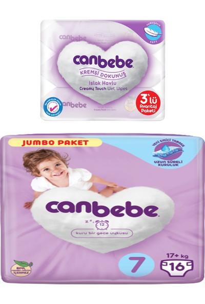Canbebe Jumbo Paketi 7 Numara ve Kremsi Dokunuş Islak Havlu 3'lü
