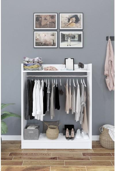 Bayz Pratik Elbise Dolabı Askılık Gardırop – Beyaz