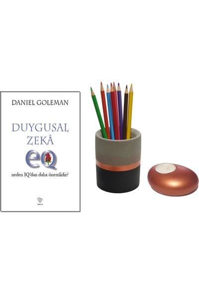 Duygusal Zeka - Neden Iq'dan Daha Önemlidir? - Daniel Goleman + Betonsu Tasarım Beton Silindir Kalemlik + Taş Model Beton Tealight Mumluk (Bakır Renk)