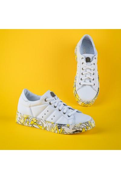 Rollerbird Quick Beyaz Deri Sarı Nk Tabanlı Spor Ayakkabı