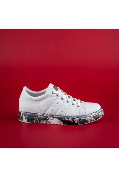 Rollerbird Quick Beyaz Deri Siyah Beyaz Nk Tabanlı Spor Ayakkabı