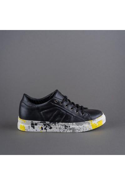 Rollerbird Quick Siyah Deri Sarı Gri Siyah Sıçratma Tabanlı Spor Ayakkabı