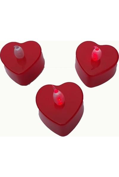 Netodak Pilli LED Mum Kırmızı Kalpli Renk Değiştiren Mini Mum LED Mum 24 Adet