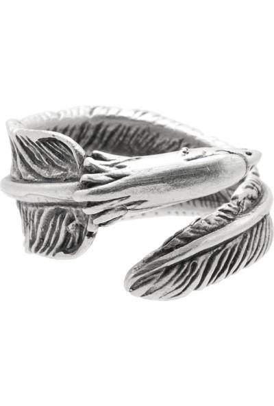 Labalaba Erkek Antik Gümüş Kaplama Ayarlanabilir Dolama Model Kartal Tüyü Yüzük