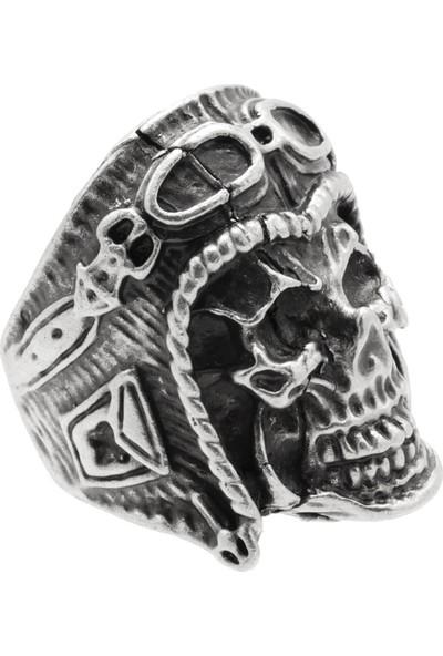 Labalaba Erkek Antik Gümüş Kaplama Ayarlanabilir Gotik Kurukafa&pilot Yüzük