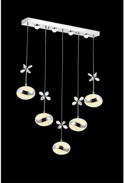 Koint Lighting Selin 5'li Yemek Masası Sarkıt Krom Avize