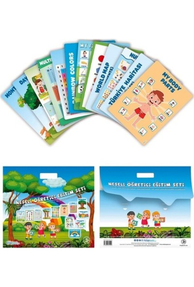 Kitap Baskı Neşeli Öğretici Eğitim Poster Seti Türkçe Ingilizce +3 Yaş - Büyük Boy
