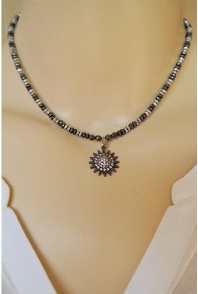 Dizayn Cam Zirkon Taş Uçlu Siyah Gümüş Hematit Doğaltaş Kolye