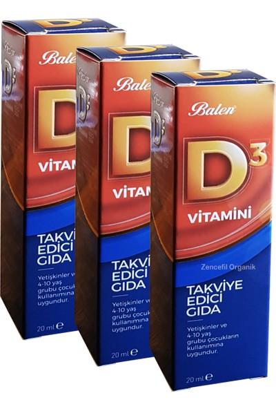 Balen 3 Kutu Balen D3 Vitamini D 3 Vitamin 20 ml x 3 Vitamin D3 Sıvı