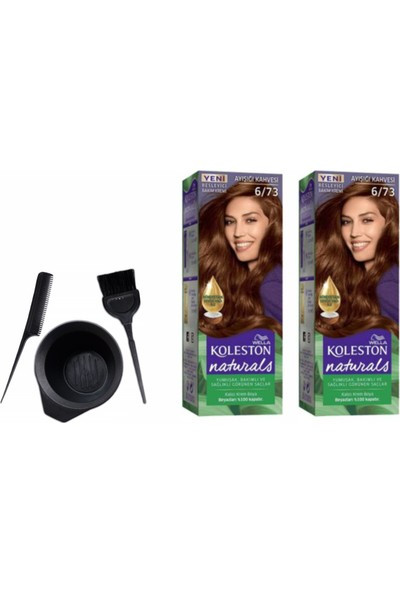 Wella Koleston Naturals Saç Boyası 50 ml 6/73 Ayışığı Kahve X2 Adet+Boyama Seti