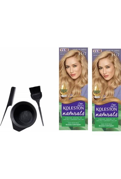 Wella Koleston Naturals Saç Boyası 50 ml 11/7 Vanilya Sarısı X2 Adet+Boyama Seti