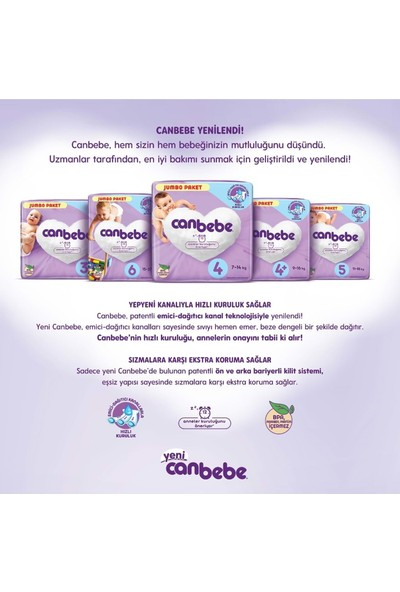 Canbebe Bebek Bezi Beden: 4+ (9 - 16 Kg) Maxi Plus 300'LÜ