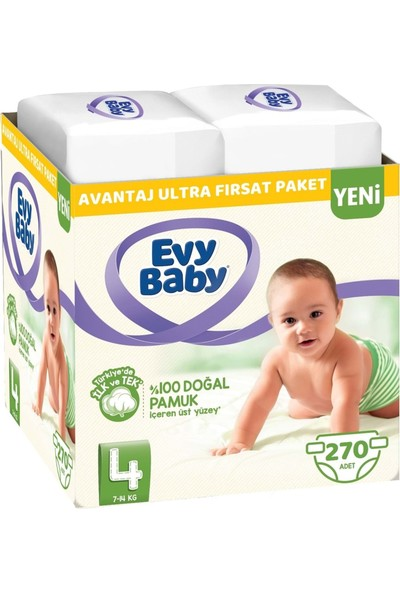 Evy Baby Bebek Bezi Beden: 4 (7 - 14 Kg) Maxi 270'LI