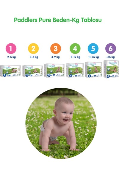 Paddlers Pure Bebek Bezi 6 Numara X- Large 4 Adet ( 15 + kg ) Deneme Paketi