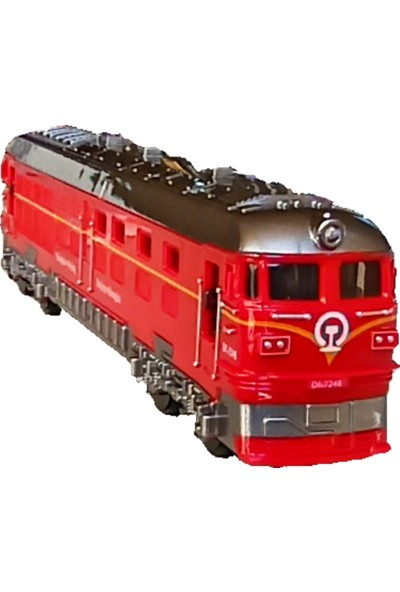 Meva Işıklı Sesli Sürtmeli Pilli Oyuncak Tren Kırmızı Lokomotif