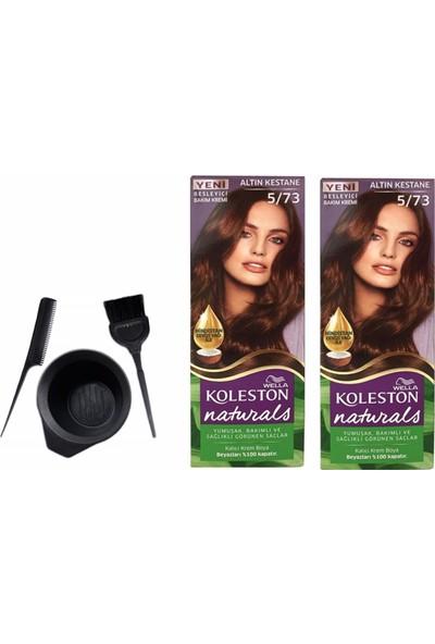 Wella Koleston Naturals Saç Boyası 50ML 5/73 Altın Kestanex2 Adet+Boyama Seti