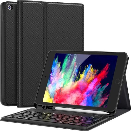 Turotto Apple iPad 8. Nesil 10.2 A2428 A2429 A2430 Seri Bluetooth Özellikli Klavyeli Kılıf Siyah