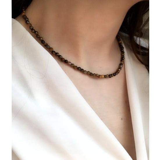 Serpil Jewellery 925 Ayar Gümüş Kaplangözü Doğaltaş Kolye