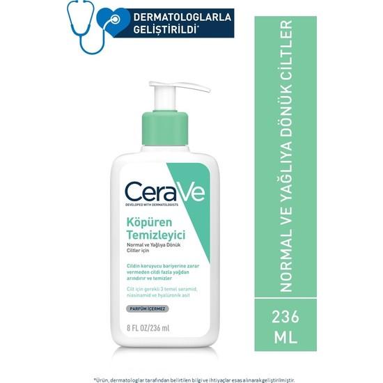 Cerave Köpüren Temizleyici Seramid & Hyaluronik Asit Normal & Yağlı Ciltler Yüz Vücut 236 ml