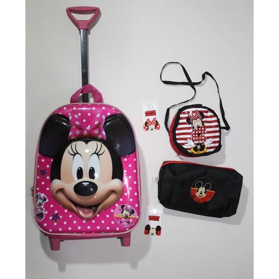 Minnie Mouse Kreş Anaokul Çekçekli Sırt Çantası-Lisanslı Kalemlik-Lisanslı Mini Kol Çantası Seti