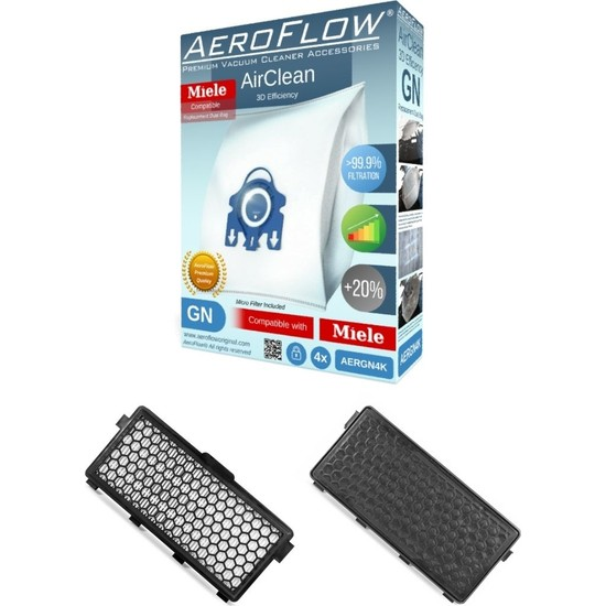 AeroFlow Miele S4560&S4782&S4711 Toz Torbası Gn Tipi 4 Adet + Hepa Filtre