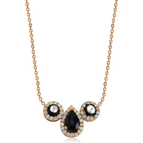 Clavis Jewelry Elmas, Pırlanta ve Damla Safir Taşlı Kolye